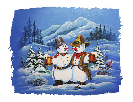 Cowboy Snowman and Soldier Snowman Christmas Card