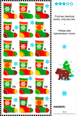 Visual riddle - find identical socks