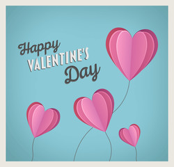 Happy valentines day vector with heart balloons