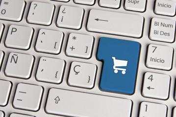 Buy concept, shopping cart keyboard key.