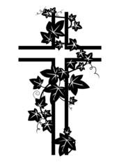 Kreuz mit Efeu bewachsen