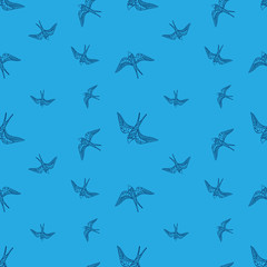 Vector doodle swallow birds seamless pattern