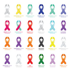 set of awareness ribbons