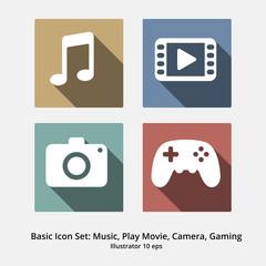 Basic Icon Set: Music, Play Movie, Camera, Gaming