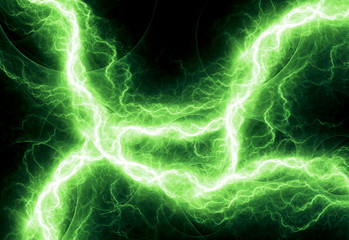 Fantasy green lightning, abstract fractal background