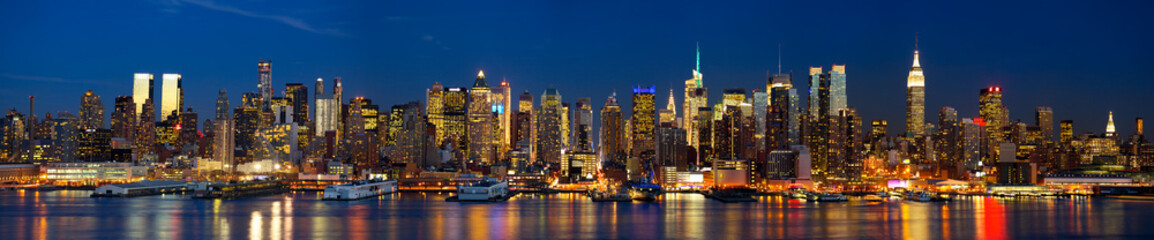 Manhattan skyline panorama at night, New York