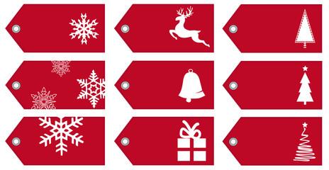 Geschenkanhänger mit Weihnachtsmotiven