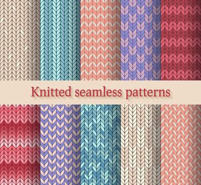 knitted seamless patterns set