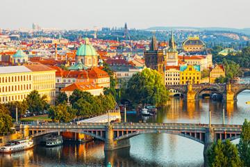 Poster Prague Beautiful view of bridges through Vltava in Prague