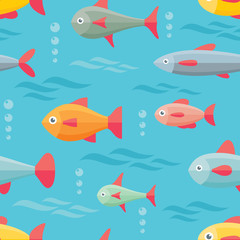Sea fishes - vector seamless pattern background