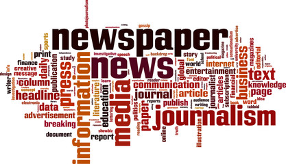 Newspaper word cloud concept. Vector illustration