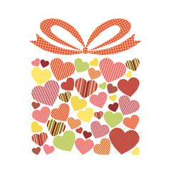 Gift box decorated with hearts