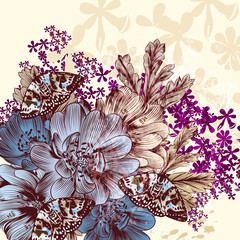 Hand drawn Flower pattern with flowers and butterflies