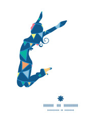 Vector colorful doodle bunting flags jumping girl silhouette