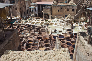Workers in the tannery souk