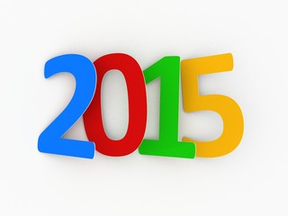 New year 2015 text on white background
