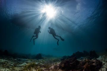 scuba divers start a dive Wall mural