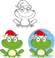 Aluminium Prints Creatures Smiling Christmas Frog Cartoon Character. Collection Set