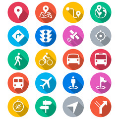 Navigation flat color icons