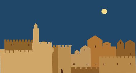 Middle East Town , Illustration, Golden Jerusalem