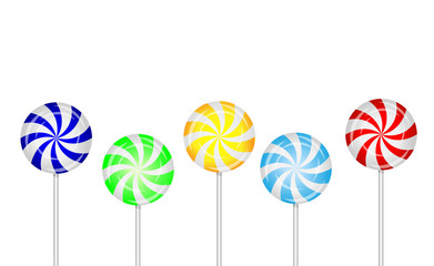 candies lollipops on a white background