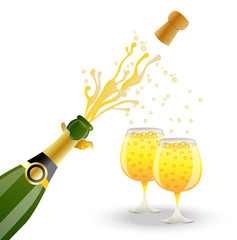 open bottle and two glasses with champagne