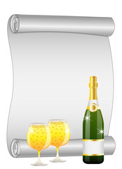 sheet of the twisted up paper, bottle and glasses of champagne