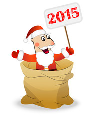 Santa claus in a sack holds a banner with numbers 2015 year