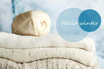 Hello winter, greeting card