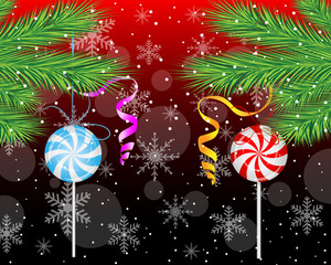 candies lollipops hang on the branches of christmas tree