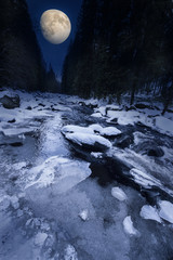 wild mountain river in the winter time