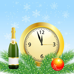 christmas postal with the bottle of champagne and clock