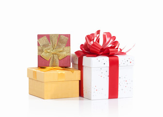 Three gift boxes Isolated on