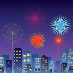 Count down New Year Festival and Fireworks vector
