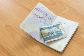 Lao PDR passport stamp with Kip money