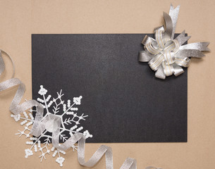 Winter frame with silver bow