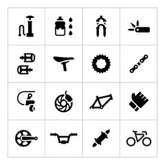 Set icons of bicycle – parts and accessories