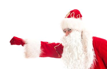 Santa Claus - superhero. Isolated on white.
