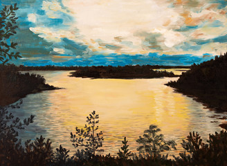 oil painting on canvas - sunset on the lake, abstract drawing, p