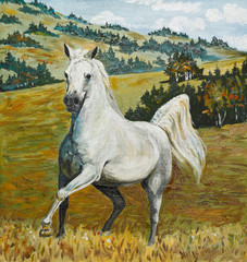oil painting - white horse galloping in field