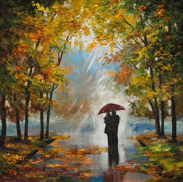oil painting on canvas - couple in the forest