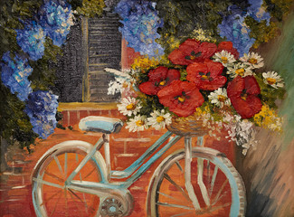 oil painting on canvas - flowers near a wall, bike with a bouque