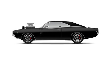 black muscle car with supercharger