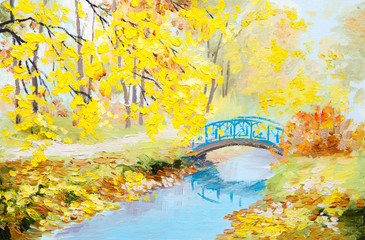 Wall Murals Yellow Oil painting landscape - colorful autumn forest
