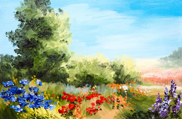 oil painting - field of flowers, abstract drawing