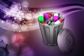 Capsules in a trash bin