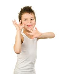 Portrait of a boy in underwear with wet hair