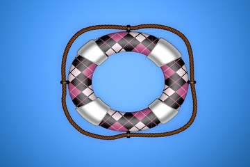 Pink, Black & White Plaid Life Saver