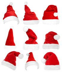 Collage of Santa hats isolated on white