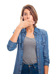 young cool woman covering her mouth